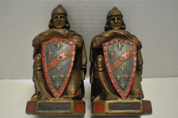 Set of vintage knight bookends armor bronze 2 by aardvarkantiques - Armor bronze bookends ...