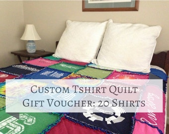 Custom Tshirt Quilt Gift Voucher 20 Shirts, Tshirt Blanket, Keepsake Memory Blanket, Rag Tshirt Quilt
