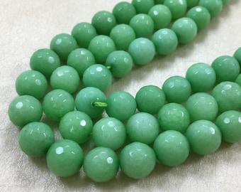 10mm semi precious natural gemstones,jade faceted round   beads for honesty bracelet