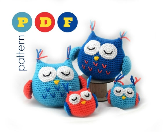 Amigurumi Owl Family : PDF Amigurumi owl family pattern. Small and large owl crochet