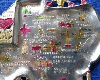 Texas Souvenir Metal Ash Tray/Vintage State Memorabilia