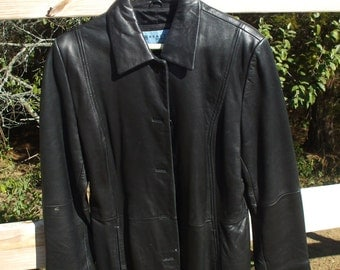 Genuine knee length leather coat