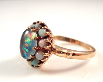 ANTIQUE 2ct OPAL RING 10k Gold 1960's Natural Opal Ballerina Ring Size 6