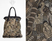 "Vintage 1950's ""Carry-All"" by Munro Bag, Weekender, Amazing Pattern!  Clock Towers, Buddha, Leaning Tower of Pisa"