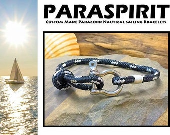 "Paraspirit ""RIGGER"" Adjustable Nautical Rope Bracelet with Stainless Steel Shackle"