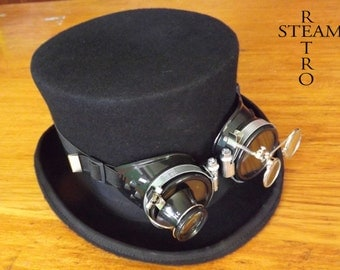 10% off sale16 steampunk hat - new VINTAGE Wool Formal  Top Hat with goggles - steampunk top hat - steampunk top hat with black goggles