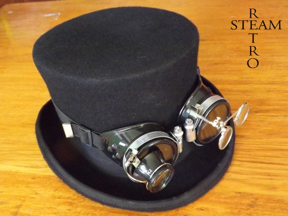 steampunk hat new VINTAGE Wool Formal Top Hat with goggles