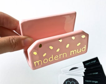 Personalized Business Card Holder - Modern Office, Modern Pottery, white and Gold Desk and Office, Mother's Day, Co