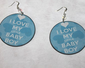 I Love My Baby Boy earrings;Recycled cardboard earrings;Blue earrings;Small pierced dangle earrings;Baby earrings;New mom gifts
