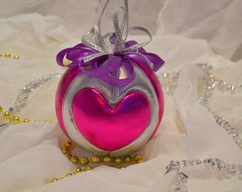 Christmas ball kimekomi fuxia-silver heart
