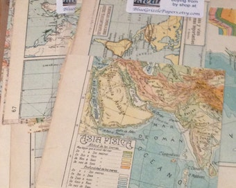 15 Vintage Map Scraps from Atlas Pages - Altered Art and Collages