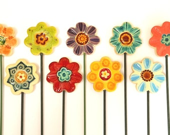 Ceramic Flowers- Planter decor- Garden decor- Ceramic- Spring- Planter art-Planter stake-Herb signs-Garden-Mums day-Office-Home-Summer