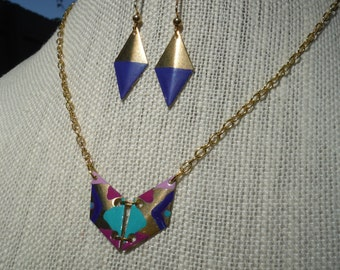 Hand Painted Mini Geometric Brass Necklace