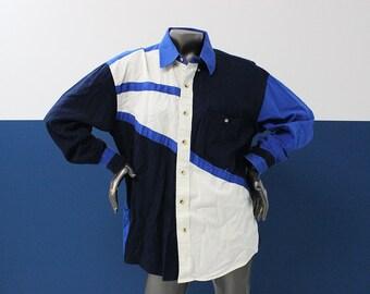 80s/90s Crazy Cowboy Color Block Button Up Shirt