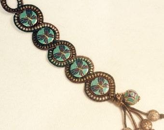 Leather Butterfly Beaded Wrap Bracelet