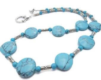 Turquoise Necklace, Sky Blue Necklace, Pale Blue Necklace, Bright Blue and Silver Necklace, Light Blue Stone Necklace, Southwest Necklace
