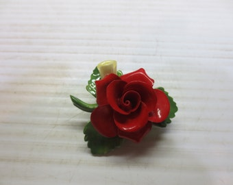 Vintage Cara China Flower Brooch Red and Yellow Staffordshire Flower Brooch Made In England