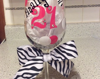 21st Birthday Wine Glass - Can be Personalized - Swarovski Crystals