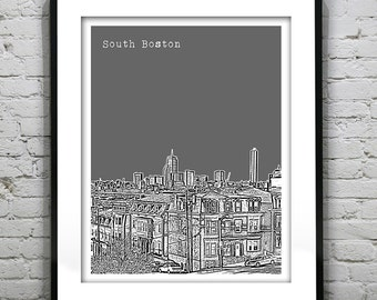 South Boston Skyline Poster Art Print Massachusetts MA Version 1