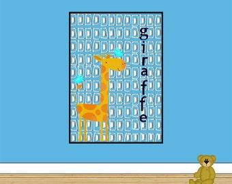 "Kids Wall Art 'Giraffe Print' Size 8""x8"" For Playroom Nursery Bedroom"