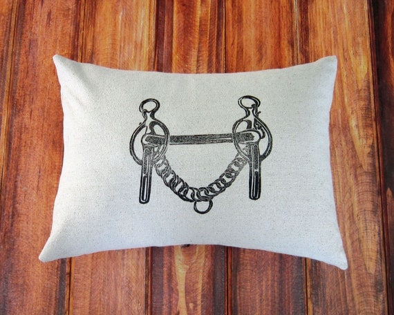 Equestrian Pillow Cover fits 12 x 16 pillow- handprinted Liverpool Curb Bit- Driving Bit- Cover Only