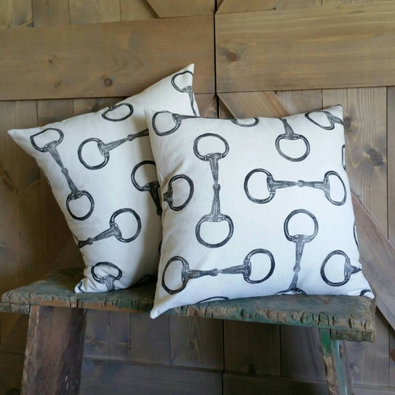 "Equestrian Pillow Cover Set of Two 18""x18""- handprinted Egg Butt Snaffle Bit- COVER ONLY"