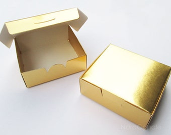 Bulk Gold Box, Small Metallic Gold Box, Gold Foil Box, Wedding Favor Box, Gift Box - Set of 100