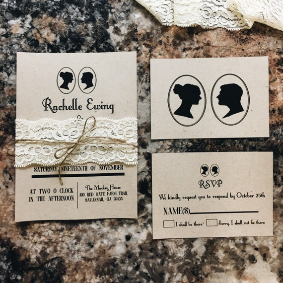 Silhouette Kraft Wedding Invitations with ivory lace belly band