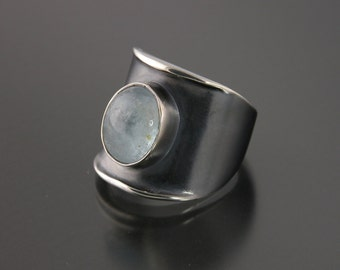 Medium Thickened Edge Sterling Ring With Oval Aquamarine
