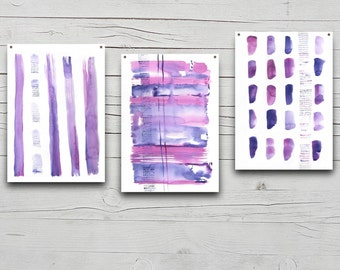 Original Abstract Watercolor set of 3 Paintings, wall art, watercolor painting, abstract watercolor painting