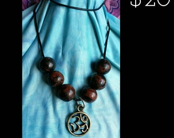 Handmade gemstone and aum charm necklace