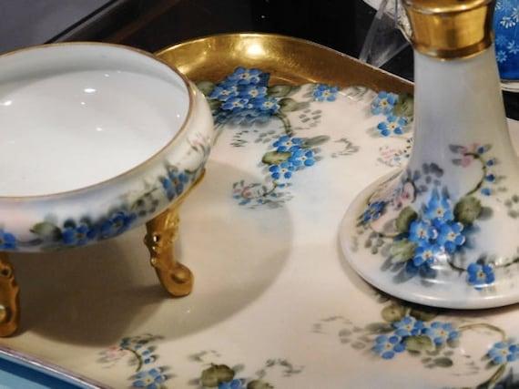 Antique Hand Painted Porcelain Vanity Dresser Set 1900s Victorian Limoges Royal Bayreuth Blue Forget Me Nots Flowers Floral Artist Signed
