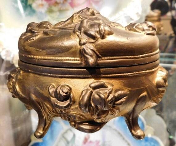 Antique Jewelry Casket /  Brainard  Wilson / Art Nouveau / Gold Ormolu