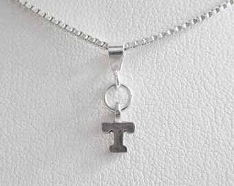 Initial Letter T Mini Pendant Charm and Necklace