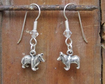 Sheltie Dangle Earrings - Sterling Silver Mini