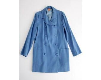 Vintage coat // blue 60's double breasted jacket