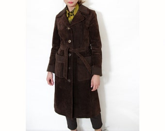 Vintage Suede Leather Coat // Chocolate Brown Belted Coat