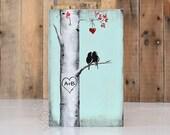 Aspen Tree Painting Rustic Wood Signs Love Gift Wood Sign Art Love Bird Aquamarine 5th Anniversary Gift Custom Wedding Gift for Couple