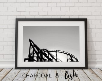 Puyallup Fair, Roller Coaster, Theme Park, Carnaval, Black and White, Northwest, Print, Photo Print, Fair grounds, // Frame NOT INCLUDED
