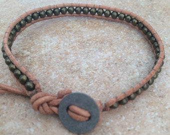 Antique brass and leather bracelet