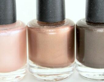 Brown nail polish set - Pale Peach brown mocha espresso brown nail polish shimmer nail polish neutral nail polish coffee nail polish