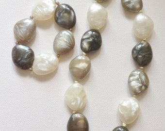 Necklace and Bracelet - Matching chunky pebble shaped bead bracelet and beaded necklace retro design