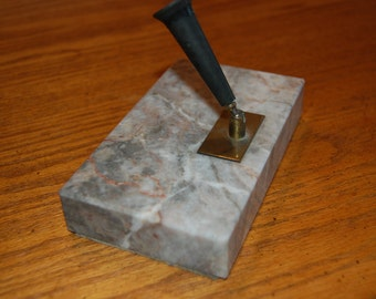 Vintage Marble Pen Holder, Pen Stand, Marble Block, Marble Pen Base