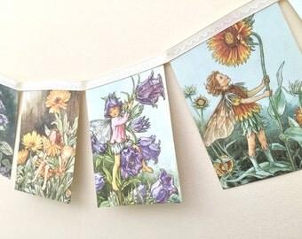 Vintage Flower Fairies Bunting Banner - Wedding Childrens Bedroom Nursery Decor Party Decoration
