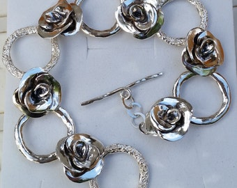 Silver Bracelet sterling silver 925 Rose handmade Artisan Crafted Squads Unique Texture 19cm Women Free Shipping
