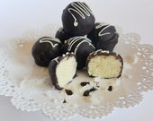 Dark Chocolate Coconut BonBons-Moist Coconut Rich Dark Chocolate Candies-8-10 Pieces