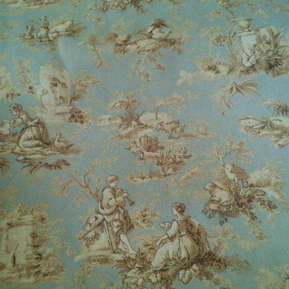 Upholstery Fabric Drapery Fabric Spa Green Tan French