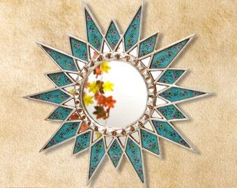 """Turquoise Star Mirror 23.6""""- Starburst Mirror 'Eternal Star'- Decorative Sunburst Mirror - Peruvian Wall Decor - Home Decor- Bathroom Mirror"""