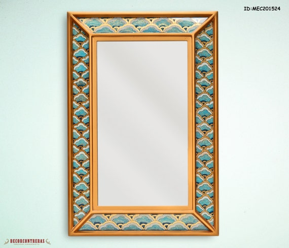 Decorative wall mirror rectangular : Vanity wall mirror mystic decorative rectangular