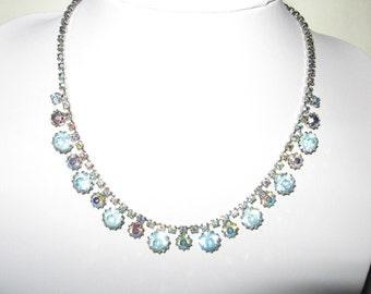 Vintage WEISS Silver Tone Blue Aurora Borealis Rhinestone Necklace